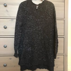 Free People Heathered gray and black Tunic Sweater